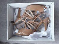 FAITH - Ladies Stiletto Sandal Shoes *** BNIB *** NEVER WORN *** - Nude Two Tone Colour - UK Size 7