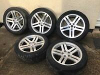 18' genuine set of Chrysler alloys with great tyres like new