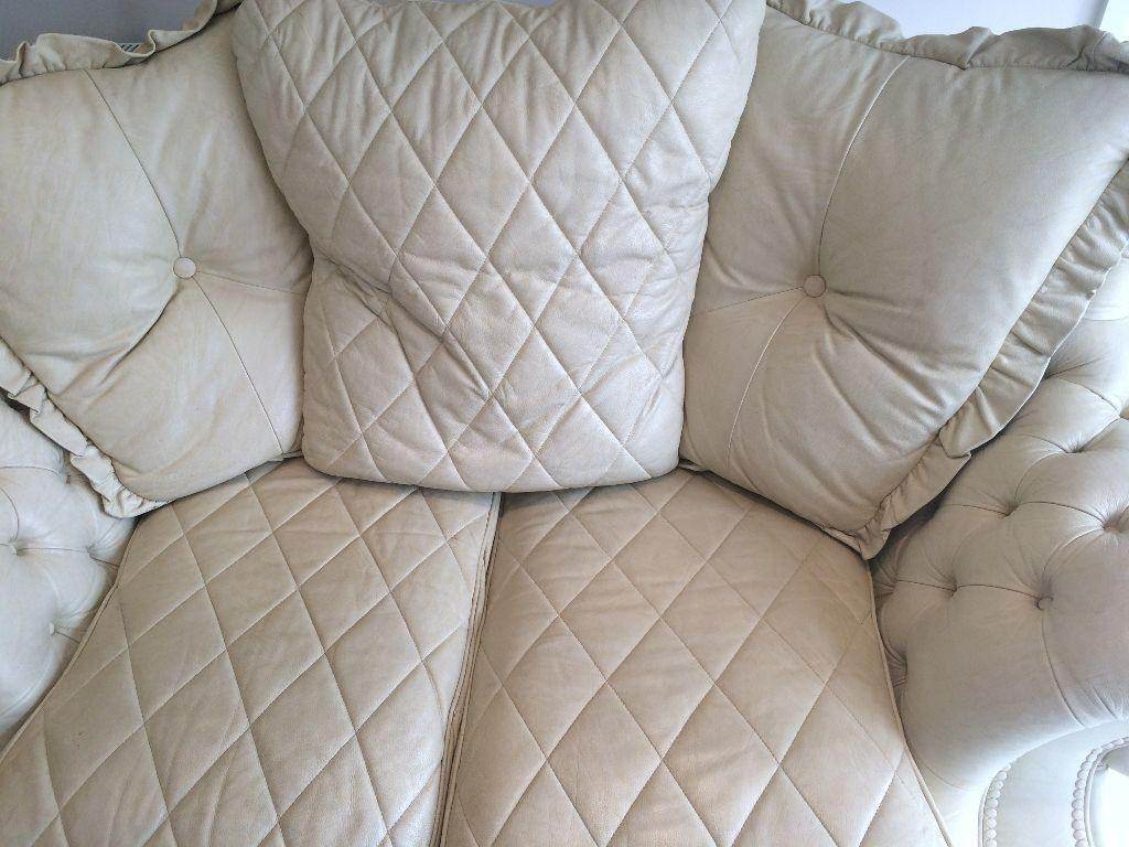 Cream White Quilted Grand Large 2 Seater Sofa Great