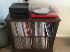 Solid wood vinyl storage cabinet and hifi unit