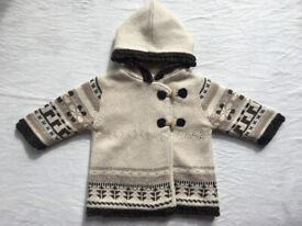 Babygirl's coat beige&dark brown,size 6 months,Made tn india,designed in France