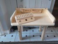 Handmade wooden childrens desk