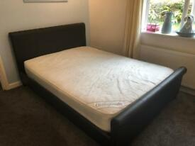 Double bed dark brown leather with mattress