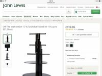 """TV & Soundbar Stand - Black glass shelves suitable for tv's up to 55"""" purchased from John Lewis"""