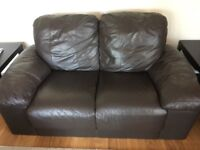 Brown leather 2 and 3 seater sofa and foot stall