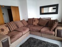 'L shaped' sofa and cushions - For sale