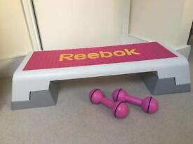 Reebok fitness step and 2 x 2.5lbs free weights