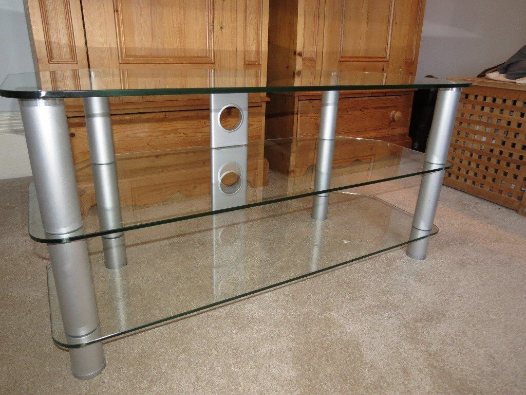Glass TV stand with silver legs - Excellent condition - Bargain