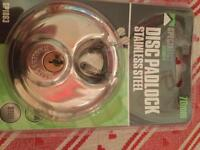 New disc padlock stainless steel with 2 keys
