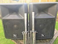 (pair) EV electrovoice sx300 speakers inc covers & stands