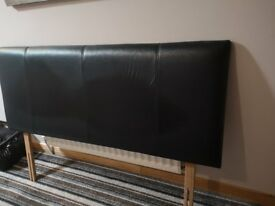 Black leather kingsize headboard