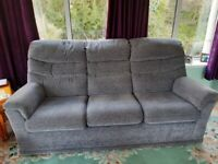 3 piece suite grey with a sprinkle of plum - 1 off chairs is mechanical recliner