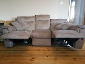 Electric recliner sofa taupe colour 3 seater