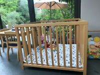Wooden play pen and mat