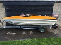 Shakespeare 13ft speed boat, 75HP Mariner outboard & galvanised trailer