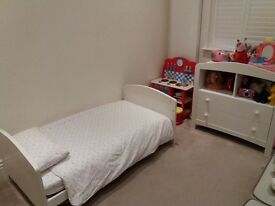 toddlers bed, mattress, chest of drawers, duvet, pillow and White Company bed linen