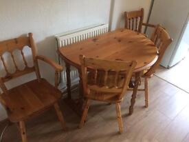 Solid pine folding table with 4 chairs