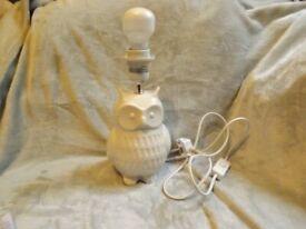 Cream Coloured Owl Lamp