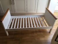 mothercare white and wooden cot bed with under sliding storage
