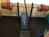 Weight bench and selected weights