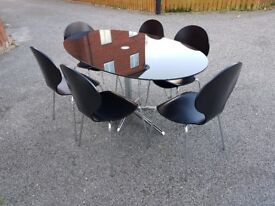 Dwell Black Glass & Chrome Dining Table & 6 Matching Chairs FREE DELIVERY 616