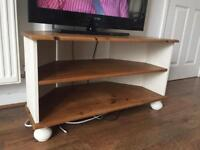Solid wooden tv stand white brown