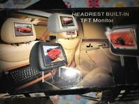 Universal head rest with built in monitor x2