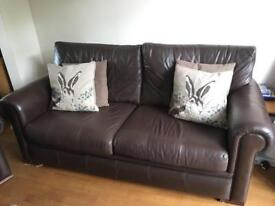 John Lewis chocolate brown leather 3 piece suite 2 chairs and 3 seater sofa