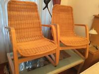 Woven wicker armchairs