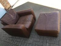 Brown leather chair and footstool (both FREE)