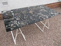 Ikea Vika Glasholm Glass Table with Cream Metal Legs. (butterfly,bird,flower design)