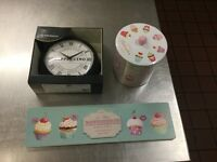 Brand new in box kitchen clock & used cookie barrel & cup cake wall plaque