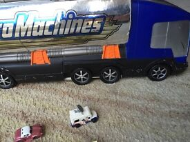 Vintage micro machines playset truck transform with cars