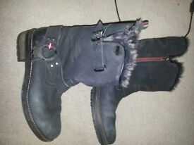 Womens Superdry Black Tempter Leather Boots Ankle Zip