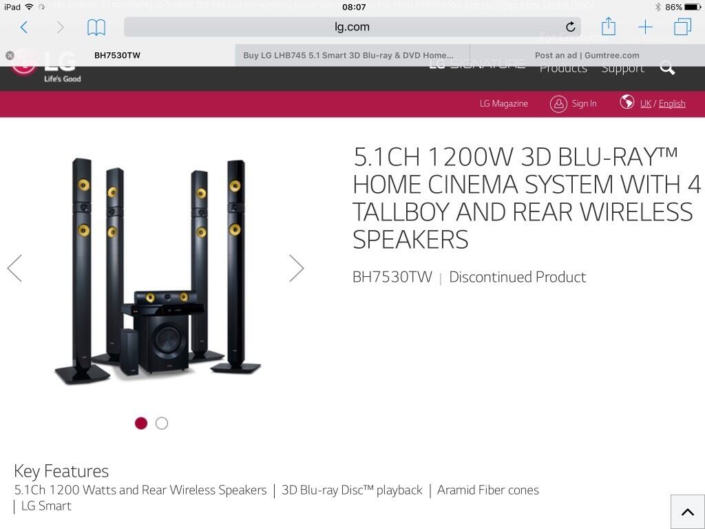 LG 5 1Smart 3D Blu Ray & DVD Home Cinema System