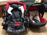 Baby Merc Junior All in One Pram, Pushchair, Travel System Charcoal Grey/Red ( Nearly New)