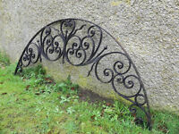 6 foot wide scrollwork wrought iron archway