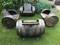 Garden chairs made from oak whiskey barrels