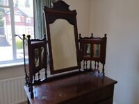 Antique dresser with large mirror and small cupboards - pick up only