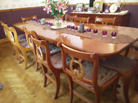Superb Yew wood 12 seat dining table plus 12 chairs, 4 door, 4 drawer sideboard PENDING
