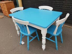 Solid Pine Painted Dining Table With Four Chairs