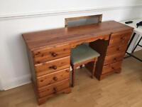 Vintage vanity dressing table with stool