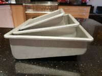 "Lakeland/Fat Daddio's TOPSY TURVY set of 3 square cake tin 6"" and 8"" and 10"""