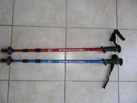 Pair Trekking Poles Antishock Telescopic Red & Blue Hiking Walking
