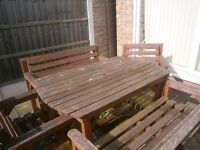 Large Solid Wood Garden Table and Chairs