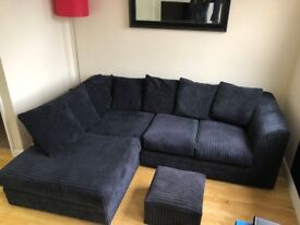 Black Corner Cord Sofa With Footstool/Poufee