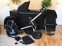 Quinny Buzz Xtra 2016, foldable carrycot, Maxi Cosi FamilyFix and car seat
