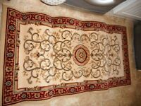 cream and red rug