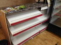 Shop shelving and commercial fridgea