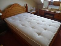Airsprung brand double solid pine bed frame only with 2 underbed drawers